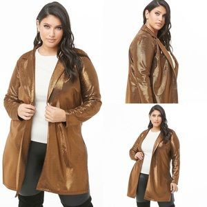 NWT Forever 21 Plus Size Metallic Copper Duster 0X